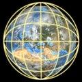 Erde in einem globalen Rasterfeld-Fokus auf Europa Stockfotografie