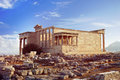 Erechtheion Temple on the Acropolis Hill of Athens Royalty Free Stock Photo