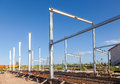 Erection of metal structures in summer day sunny Stock Images