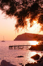 Eressos, Lesvos, Greece at sunset Stock Image