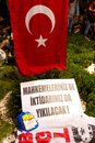 Ergenekon conspiracy protest banner in protests sentencing in on august in istanbul turkey people walk from kadikoy to goztepe Royalty Free Stock Photo
