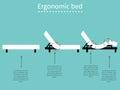 Ergonomic bed adjustable flat design illustration Stock Photo