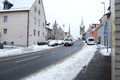 Erlangen germany december snow covered residential street daily in with some cars on in as editorial Stock Images