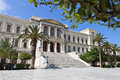 Ermoupoli town at syros island the city hall of ermoupolis in greece Royalty Free Stock Photo
