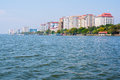 Ernakulam the mainland part of the kochi cochin city a view on new residential buildings from a ferry coming from fort Royalty Free Stock Images