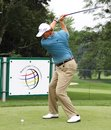 Ernie Els sets up his shot Royalty Free Stock Photo