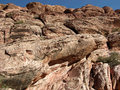Eroded fossil sand dunes in Red Rock Canyon near Kraft Mountain Royalty Free Stock Photo