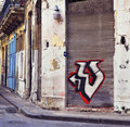 Eroded Havana building with graffiti Stock Photography