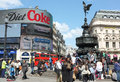 Eros statue piccadilly circus london of and fountain in s famous aluminium of depicts the greek mythological god of Royalty Free Stock Photos