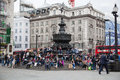 Eros statue piccadilly cirkus london Royaltyfria Bilder