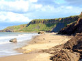 Erosion cayton bay yorkshire cliff at scarborough north england uk Royalty Free Stock Images