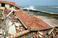 Erosion, climate change, broken building, Hoi An, Vietnam Royalty Free Stock Photo