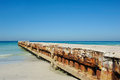 Erosion control structure a concrete on the florida coastline Stock Photos