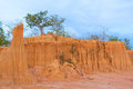 Erosion of ground, shapes similar to wall or cliff Royalty Free Stock Photo