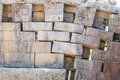 Erosion main temple wall Machu Picchu ruins peruvian Andes  Cuzc Royalty Free Stock Photo