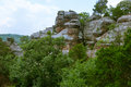 Erosive rocks in the Garden of the Gods of Southern Illinois, US Royalty Free Stock Photo