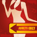 Erotic a colored icon with an arrow and text with a woman in the background Stock Image