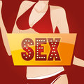 Erotic a colored icon with some text and a female body in the background Royalty Free Stock Images