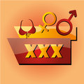 Erotic a colored icon with some text and gender symbols Royalty Free Stock Images