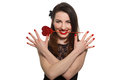 Erotic looking woman with red lipstick holding Valentine heart i Royalty Free Stock Photo
