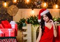 Erotic surprise. Sexual holidays. Sexy gift. Sex shop. Attractive girl in erotic lingerie hold gift box. Desirable Santa Royalty Free Stock Photo