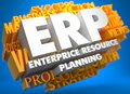 Erp business concept enterprise resource planning the word in white color on cloud of yellow words on blue background Royalty Free Stock Photo