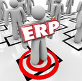 Erp enterprise resource planning company business program softwa acronym letters on a worker on an org chart to illustrate for a Royalty Free Stock Photos