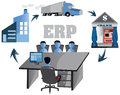 Erp vector design of enterprise resource planning is to automate business can maintain record and access the entire transaction of Stock Image