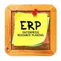 Erp yellow sticker on bulletin enterprise resource planning written cork or message board business concept Royalty Free Stock Images