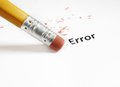 Error correction closeup of a pencil eraser fixing an Royalty Free Stock Image