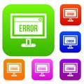 Error sign on a computer monitor set collection