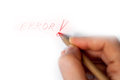 Error write hand writing in red Stock Images