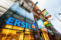 Erste bank logo on vienna street central branch austria july the sits display outside a operated by group ag in austria Stock Photos