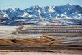 Erster Schnee auf den Feldern Lizenzfreies Stockfoto
