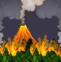 Erupting volanco and fire scene Royalty Free Stock Photo