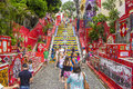Escadaria selarón rio de janeiro is a set of world famous steps in brazil they are the work of chilean born artist jorge Royalty Free Stock Photography