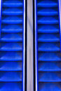 Escalator a with blue led lights Royalty Free Stock Image