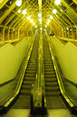 The escalator on Bogdan Khmelnytsky Bridge (The Kiev foot bridge) at night Royalty Free Stock Photo