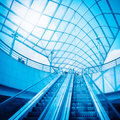 Escalator and glass dome Stock Images