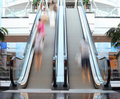 Escalator with motion blur on the steps Stock Photos