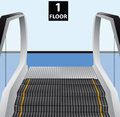 Escalator stairs movable stage to transport people between floors vector illustration Stock Images