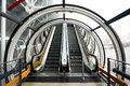 Escalator up and down with tunnel in modern building Royalty Free Stock Photo