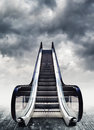 Escalators conceptual image moving stairway to heaven easy opportunity to success Royalty Free Stock Photography