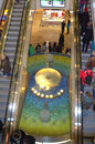Escalators and fountain crowded escalator dresden altmarkt shopping center germany Stock Images