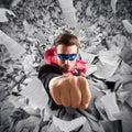 Escape from bureaucracy superhero businessman a sheets pile Stock Image