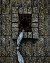 Escape from prison a prisoner escaped a castle by breaking the iron bars and climbing the castle wall with the help of a rope made Royalty Free Stock Photos