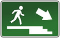Escape route emergency exit sign template with escaping figure Stock Photos