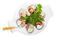 Escargot snails with garlic butter and fresh herbs Royalty Free Stock Image