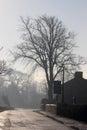 Escena de la calle del pueblo del invierno sol en el camino helado Imágenes de archivo libres de regalías