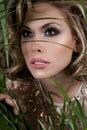 Esconder da mulher Foto de Stock Royalty Free